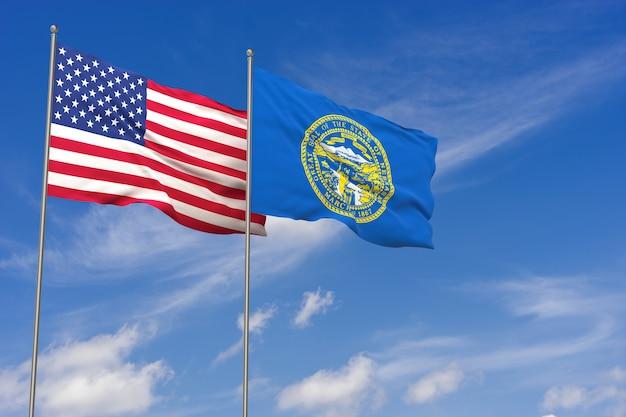 Sinalizadores de eua e nebraska sobre o fundo do céu azul. ilustração 3d