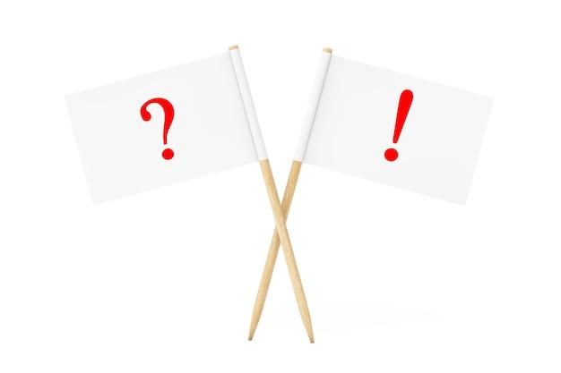 Sinalizadores de ponteiro de papel mini com marcas de exclamação de pergunta em um fundo branco. renderização 3d.