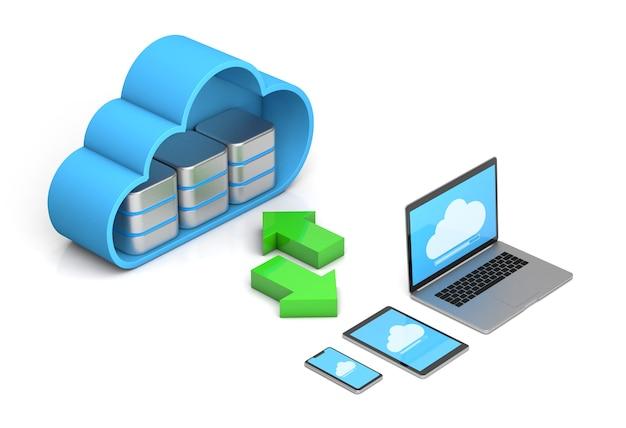 Sincronização do servidor nuvem com todos os dispositivos telefone tablet laptop isolado no branco