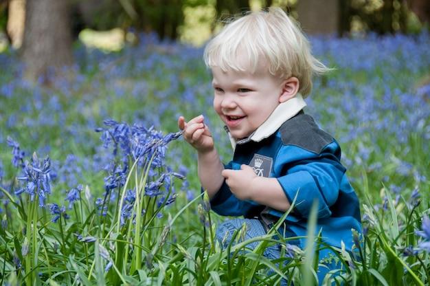 Sinos de criança loira perigo crianças bluebells