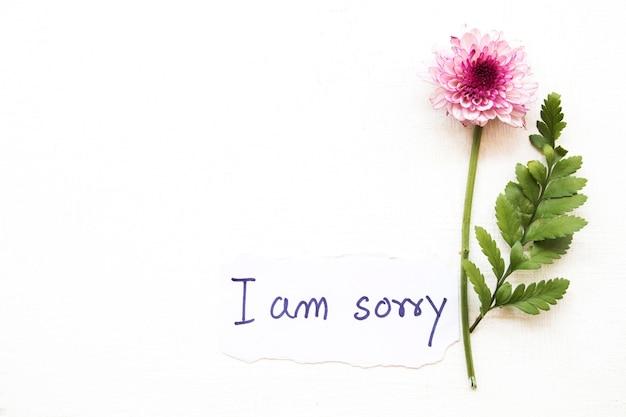 Sinto muito, cartão de mensagem com flor