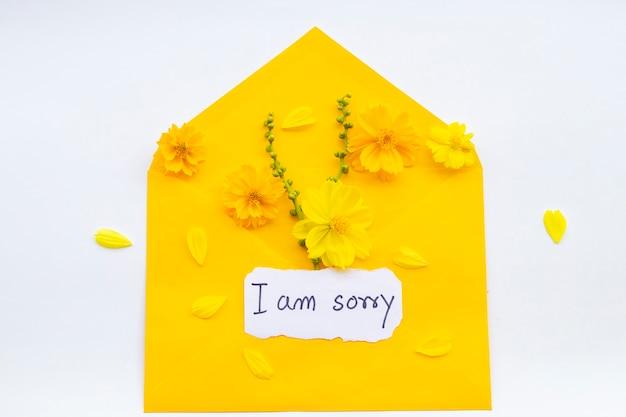 Sinto muito, cartão de mensagem com flores cosmos no envelope Foto Premium