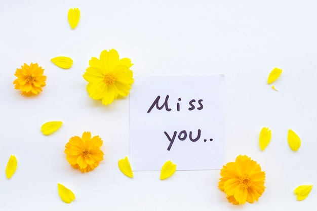 Sinto sua falta escrita à mão do cartão de mensagem