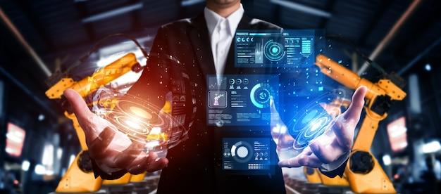 Sistema avançado de braço de robô para indústria digital e tecnologia robótica de fábrica