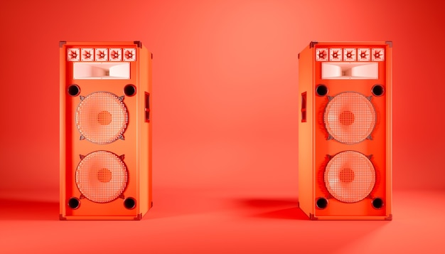 Sistema de alto-falante vermelho sobre fundo vermelho, ilustração 3d