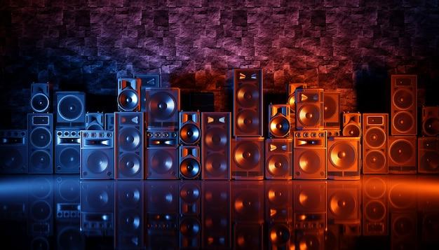 Sistema de alto-falantes em um fundo preto com iluminação azul e laranja, ilustração 3d
