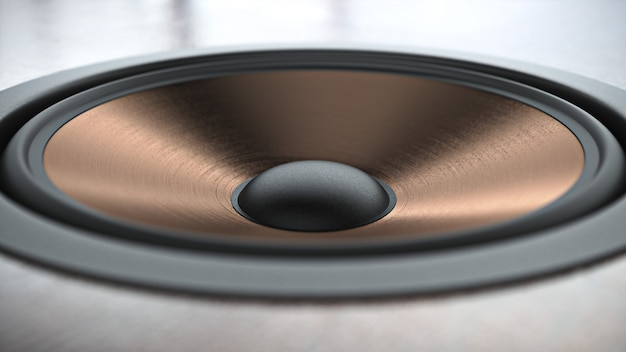 Sistema de alto-falantes multimídia com acabamento em cobre com close up de diferentes alto-falantes sobre fundo preto. renderização 3d