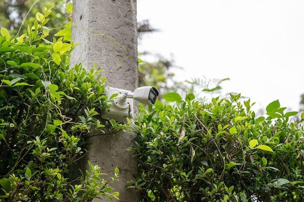 Sistema de câmera de segurança cctv moderno instalado em poste de cimento no jardim