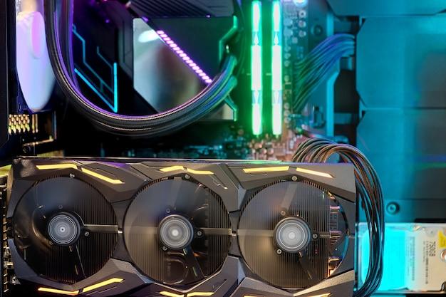 Sistema de cpu com ventoinha de refrigeração com luzes multicoloridas