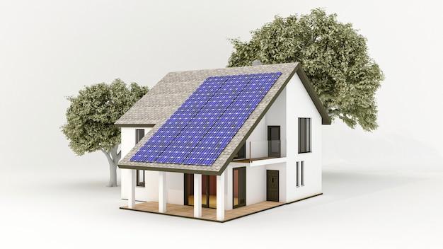 Sistema de energia solar com painéis solares fotovoltaicos no telhado da casa