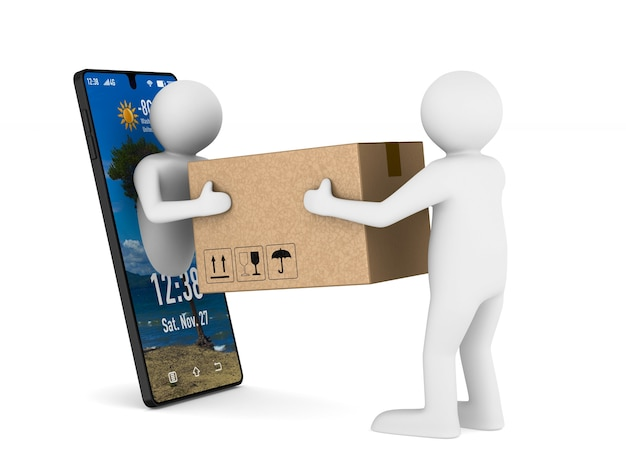 Sistema de entrega em fundo branco. ilustração 3d isolada