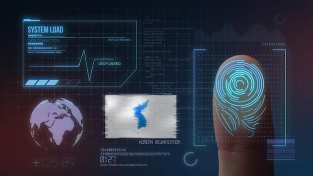 Sistema de identificação de digitalização biométrica por impressão digital. bandeira da unificação da coreia da nacionalidade