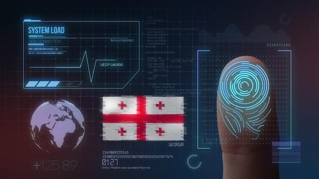Sistema de identificação de digitalização biométrica por impressão digital. nacionalidade da geórgia