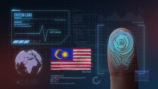 Sistema de identificação de digitalização biométrica por impressão digital. nacionalidade da malásia