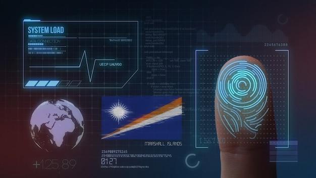 Sistema de identificação de digitalização biométrica por impressão digital. nacionalidade das ilhas marshall