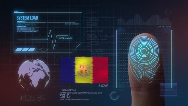 Sistema de identificação de digitalização biométrica por impressão digital. nacionalidade de andorra