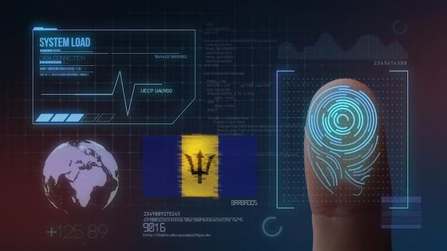 Sistema de identificação de digitalização biométrica por impressão digital. nacionalidade de barbados