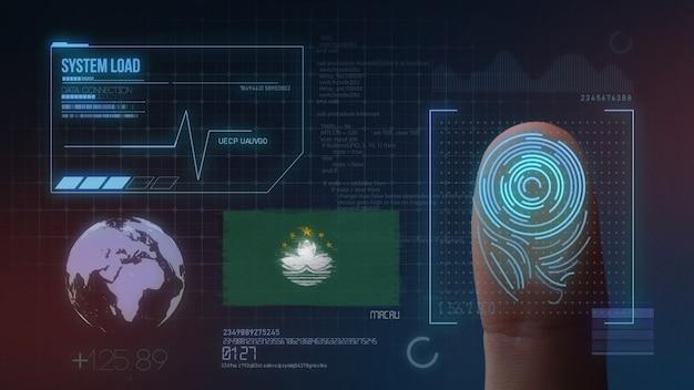 Sistema de identificação de digitalização biométrica por impressão digital. nacionalidade de macau