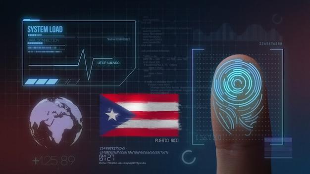 Sistema de identificação de digitalização biométrica por impressão digital. nacionalidade de porto rico