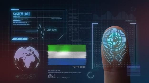 Sistema de identificação de digitalização biométrica por impressão digital. nacionalidade de serra leoa