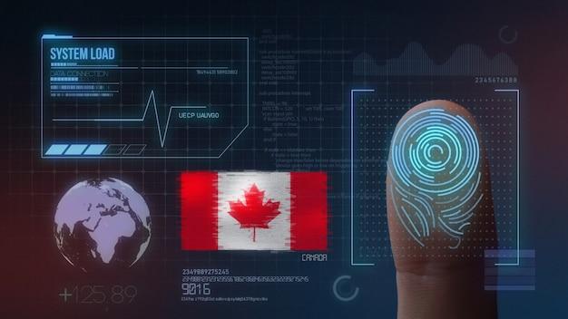 Sistema de identificação de digitalização biométrica por impressão digital. nacionalidade do canadá