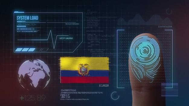 Sistema de identificação de digitalização biométrica por impressão digital. nacionalidade do equador