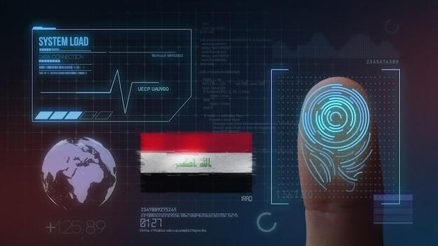Sistema de identificação de digitalização biométrica por impressão digital. nacionalidade do iraque