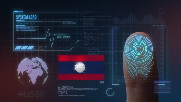 Sistema de identificação de digitalização biométrica por impressão digital. nacionalidade do laos