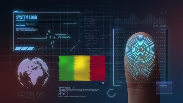 Sistema de identificação de digitalização biométrica por impressão digital. nacionalidade do mali