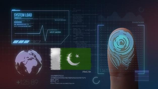 Sistema de identificação de digitalização biométrica por impressão digital. nacionalidade do paquistão