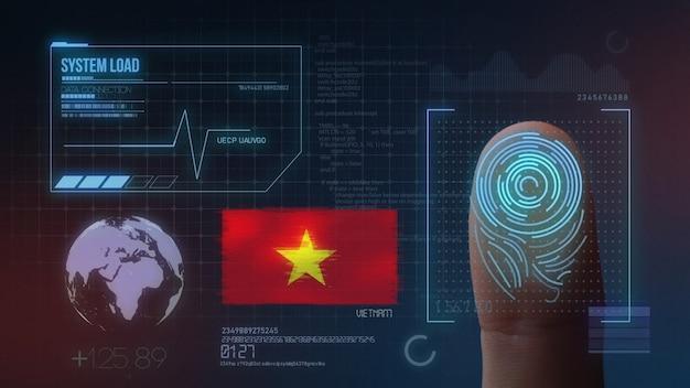 Sistema de identificação de digitalização biométrica por impressão digital. nacionalidade do vietnã