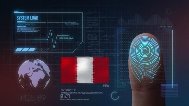 Sistema de identificação de digitalização biométrica por impressão digital. peru nacionalidade