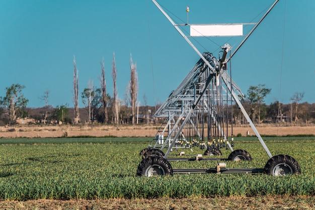 Sistema de irrigação de pivô em campos desérticos.