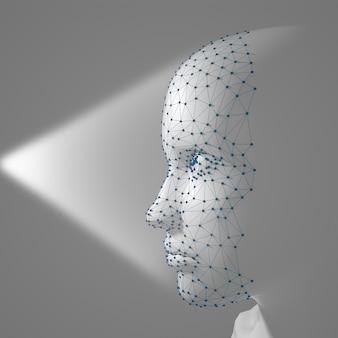 Sistema de reconhecimento facial 3d scanning. rosto humano composto por polígonos, pontos e linhas