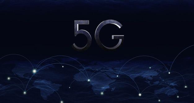 Sistema de rede sem fio 5g de ilustração 3d, iot (internet das coisas), conceito de rede de comunicação.