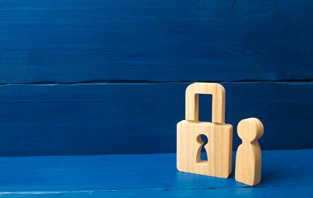 Sistema de segurança e alarme. serviço de segurança. figura de madeira de uma pessoa com cadeados