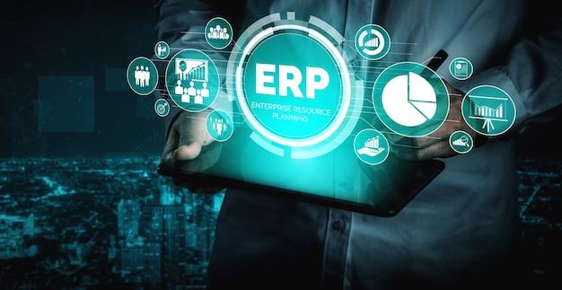 Sistema de software erp enterprise resource management para plano de recursos de negócios