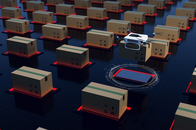 Sistema de transferência automática de estoque logístico e renderização de ilustrações 3d de armazém