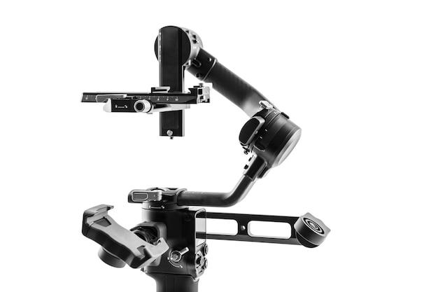 Sistema de tripé de estabilização de cardan da câmera em um fundo branco