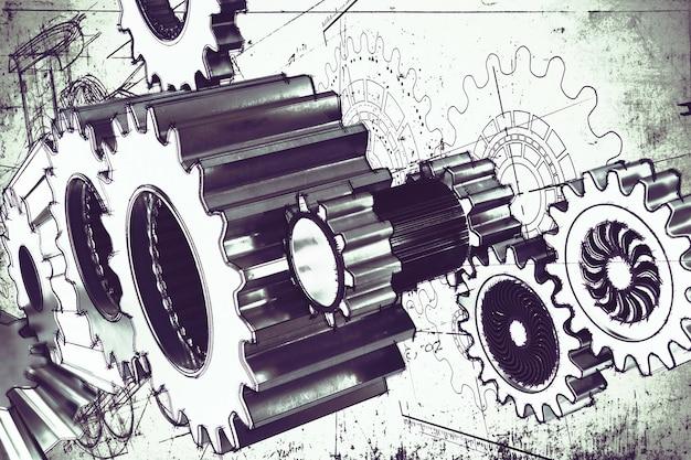 Sistema de uma engrenagem do mecanismo colada