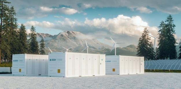Sistema de usina de armazenamento de energia de bateria de contêiner moderno acompanhado de painéis solares e sistema de turbina eólica situado na natureza com o monte st. helens ao fundo. renderização 3d.