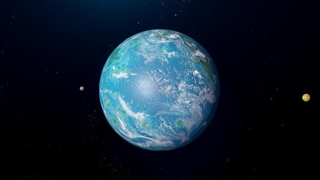 Sistema exoplanetário tipo oceano com luas