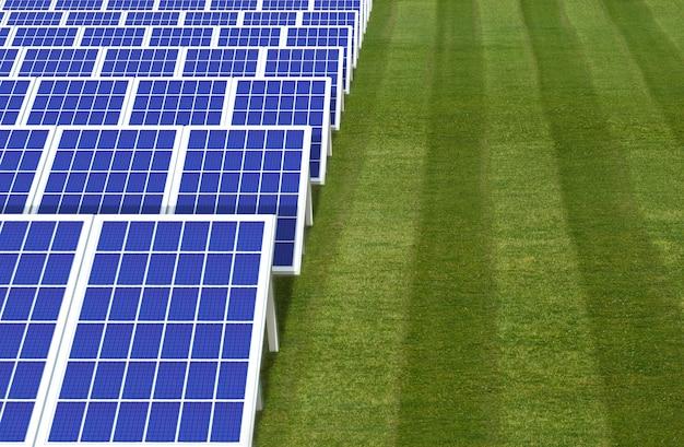 Sistema gerador de energia elétrica, fazenda de campo de painéis de células solares