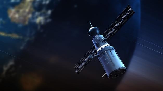 Sistema global de satélites. satélite de comunicação no fundo do espaço futurista