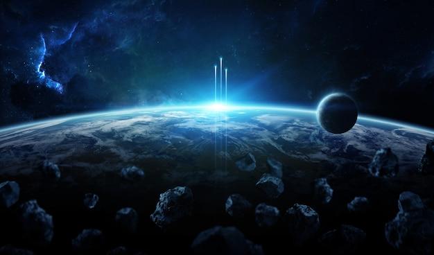 Sistema planetário distante no espaço com exoplanetas