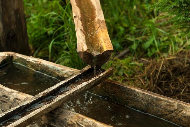 Sistema primitivo de abastecimento de água a partir de calhas de madeira que saem da nascente
