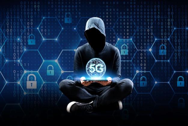 Sistema sem fio de rede 5g e internet das coisas contato com as pessoas