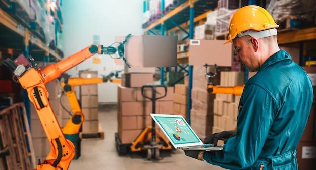 Sistemas inteligentes de braço de robô para armazém inovador e tecnologia digital de fábrica