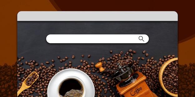 Site com barra de pesquisa e tema de café