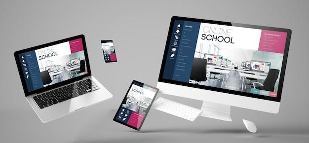 Site responsivo da escola on-line de dispositivos voadores